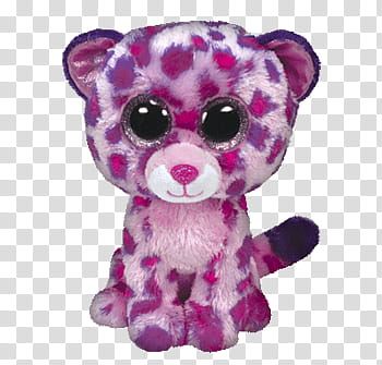 Pink and purple Ty Beanie Boos animal plush toy transparent.