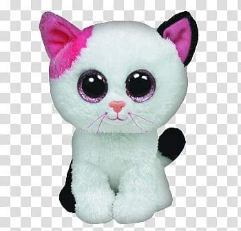 White and black cat Ty Beanie boo plush toy transparent.