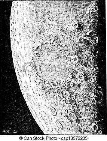 Vektor Clipart von Stich, Mond, Oberfläche, Weinlese.