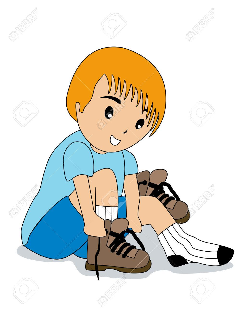 Tying Shoes For Kids Clipart.