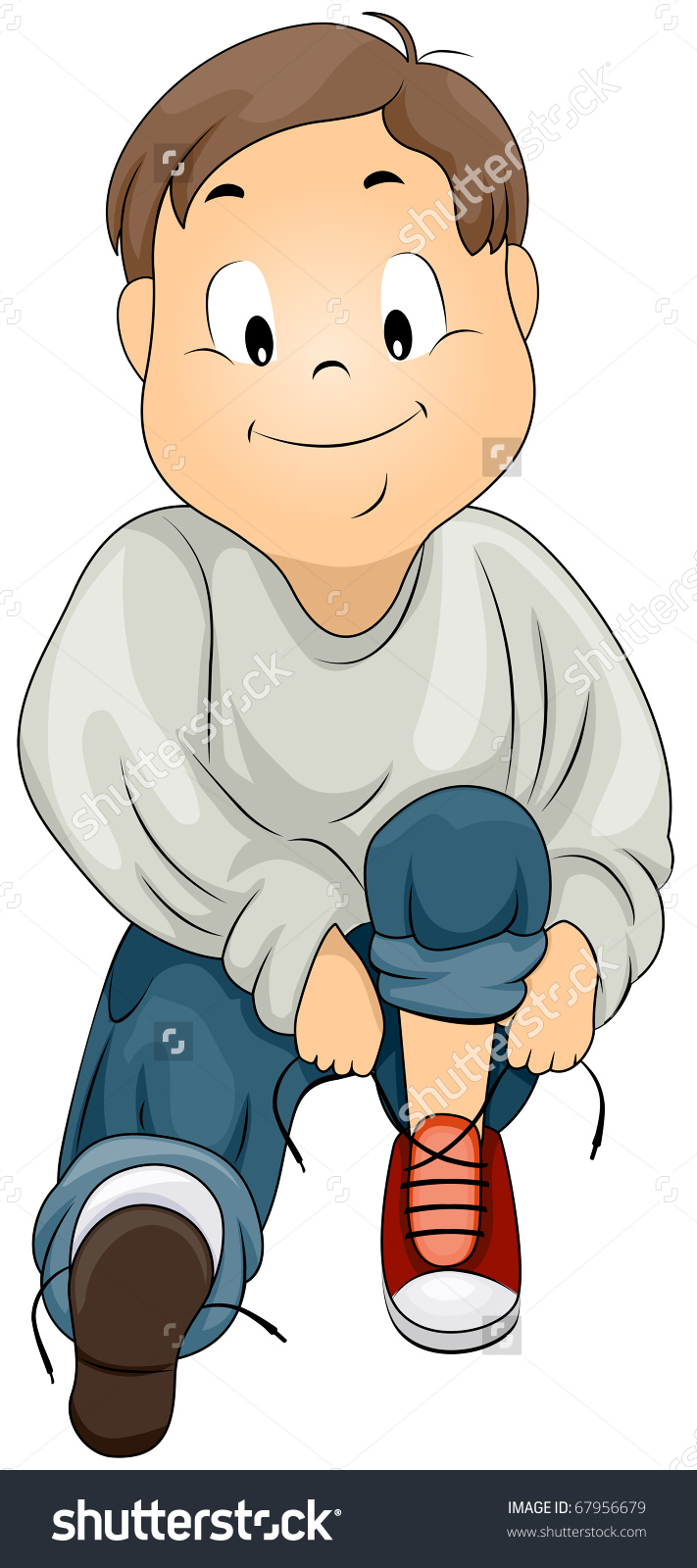 Tying Shoelaces Clipart.