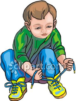 Tying Shoes Clipart.