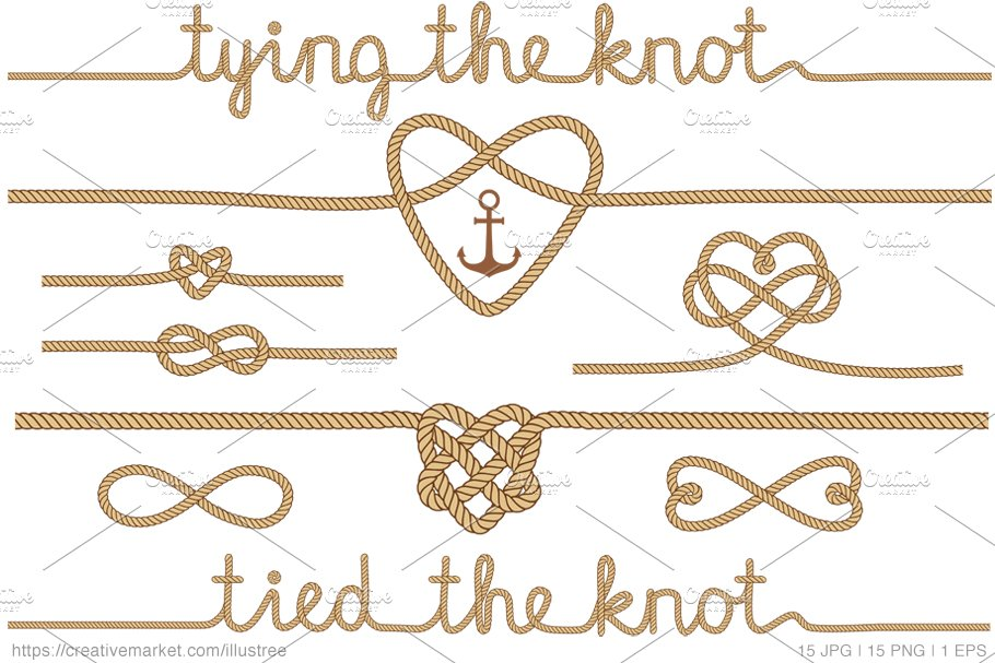 Tying the knot, beige vector set.