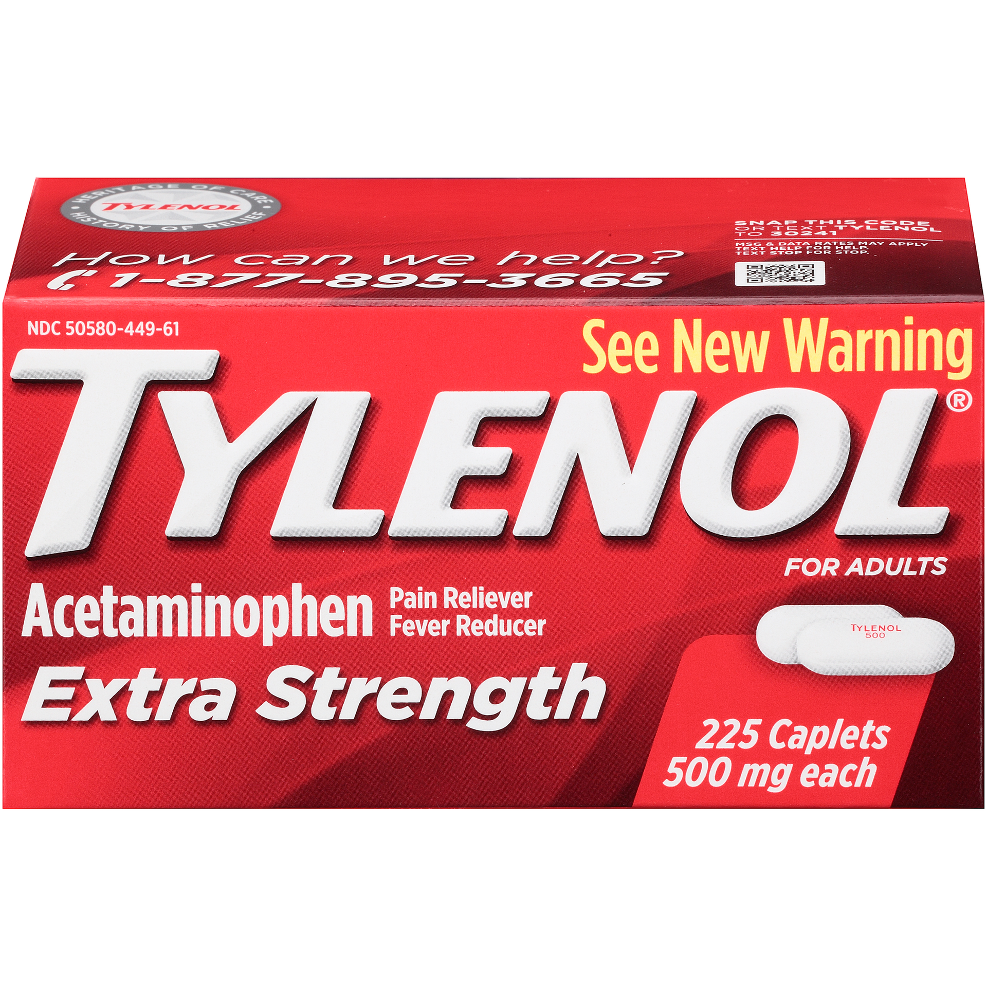 Tylenol Extra Strength 500 mg Caplets Fever Reducer and Pain Reliever, 325  ct..