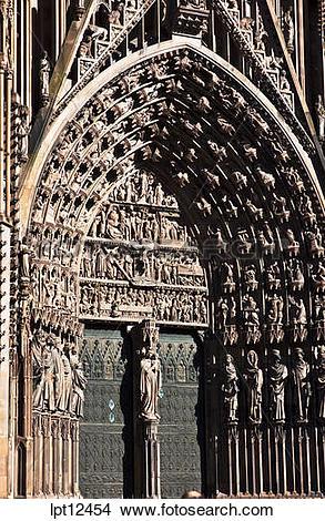 Stock Photo of Main doorway and Tympanum Notre.