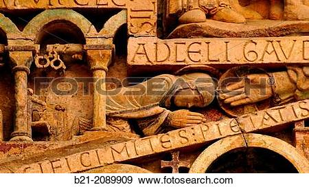 Stock Photograph of Detail on the tympanum, abbey.