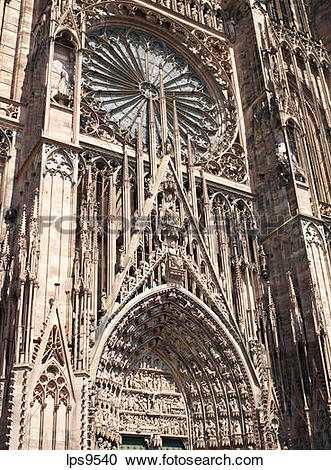 Stock Photography of GREAT ROSE WINDOW AND TYMPANUM NOTRE.