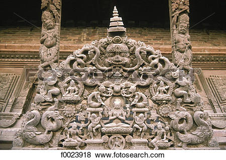 Pictures of Nepal, Kathmandu, temple, sculpted wooden tympanum.