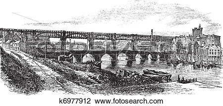 Clipart of Newcastle upon Tyne in England, UK, vintage engraved.