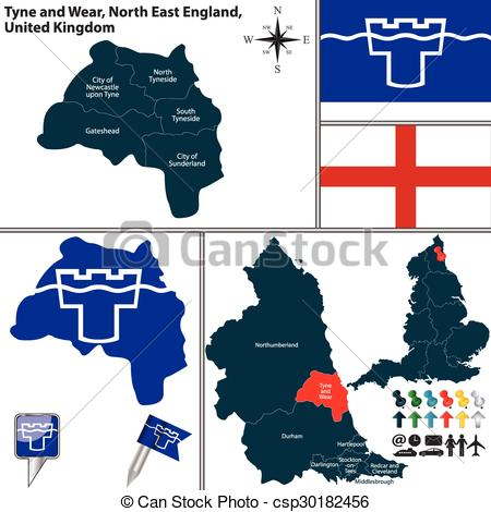 Clipart Vector of Tyne and Wear, North East England, UK.