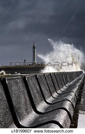 Picture of Waves crushing against barrier, Sunderland, Tyne and.