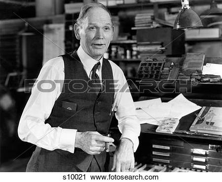 Stock Photography of 1930S 1940S Older Man Wearing Shirtsleeves.