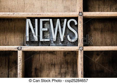Stock Images of News Letterpress Type in Drawer.