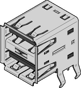 Usb Type A Dual Receptacle Clip Art at Clker.com.