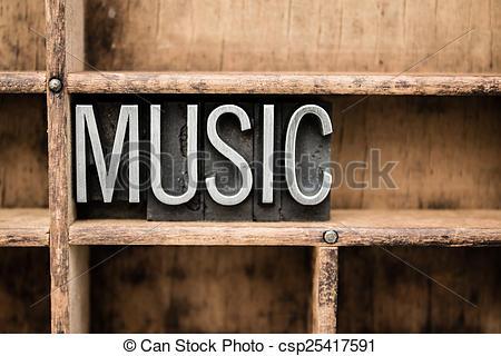 Stock Photographs of Music Vintage Letterpress Type in Drawer.