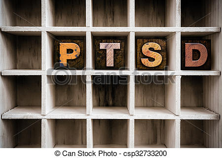 Stock Photography of PTSD Concept Wooden Letterpress Type in.