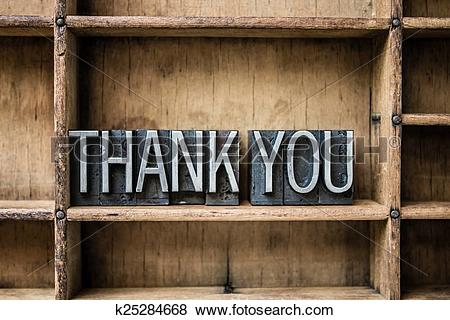 Pictures of Thank You Letterpress Type in Drawer k25284668.