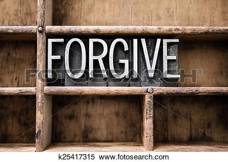 Stock Image of Forgive Vintage Letterpress Type in Drawer.