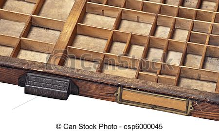 Stock Images of Vintage Type or Typography Drawer.