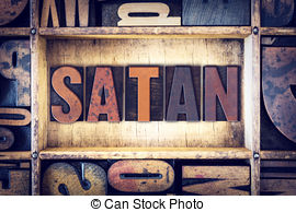 Stock Images of Satan Concept Wooden Letterpress Type in Drawer.