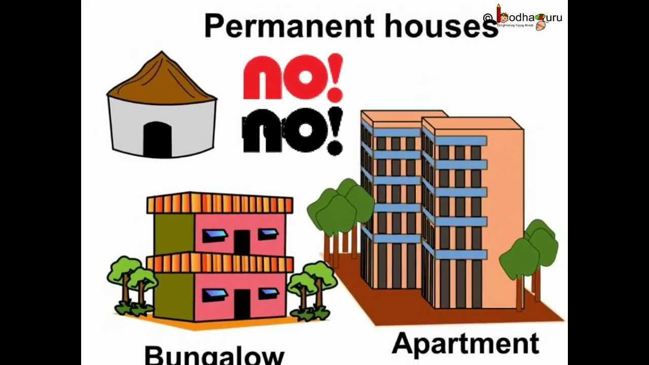 """Why different types of houses are there? """" This is an animated."""