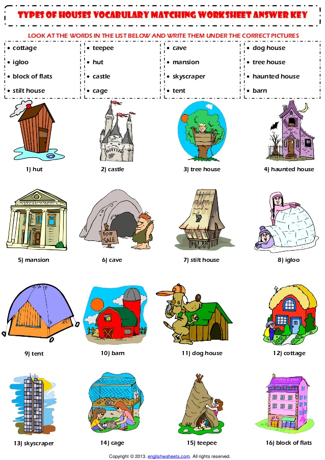 Home house types vocabulary matching exercise worksheet.