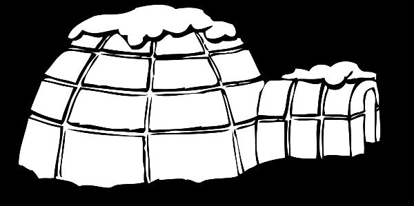 Igloo Clip Art Black And White.
