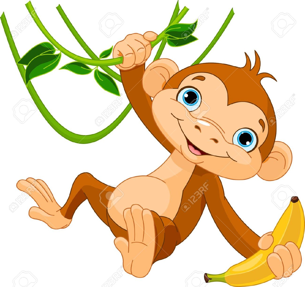Cute Baby Monkey On A Tree Holding Banana Royalty Free Cliparts.