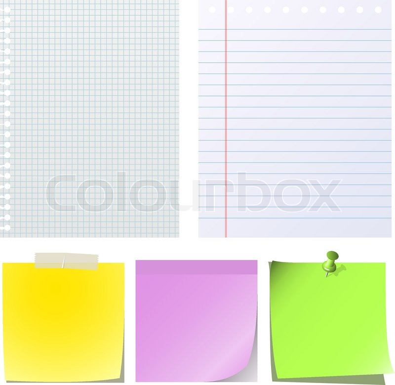 Different types of note papers isolated on white background.