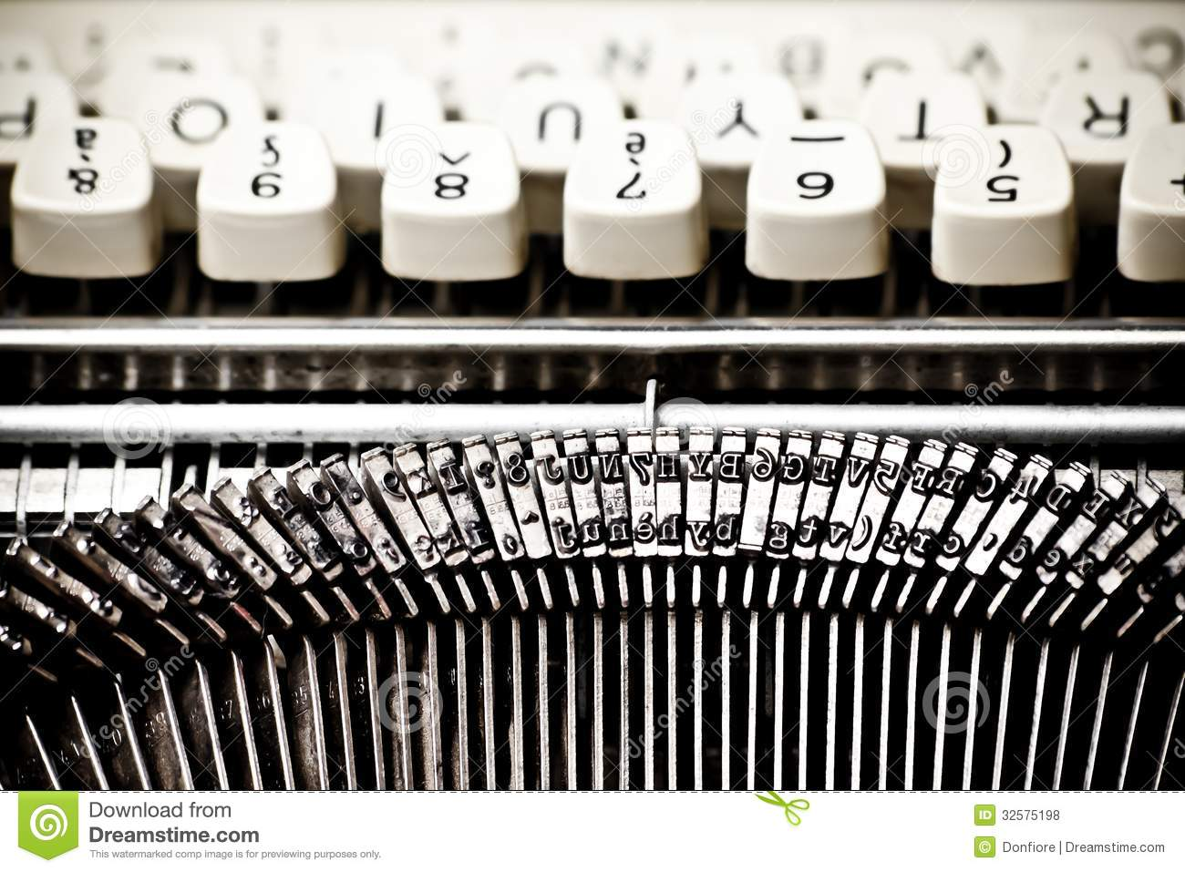 Type Bars And White Buttons Of Typewriter Royalty Free Stock.