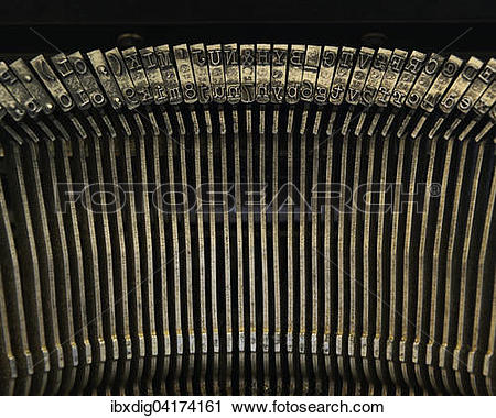 Stock Photography of Typewriter, type bars, close up.