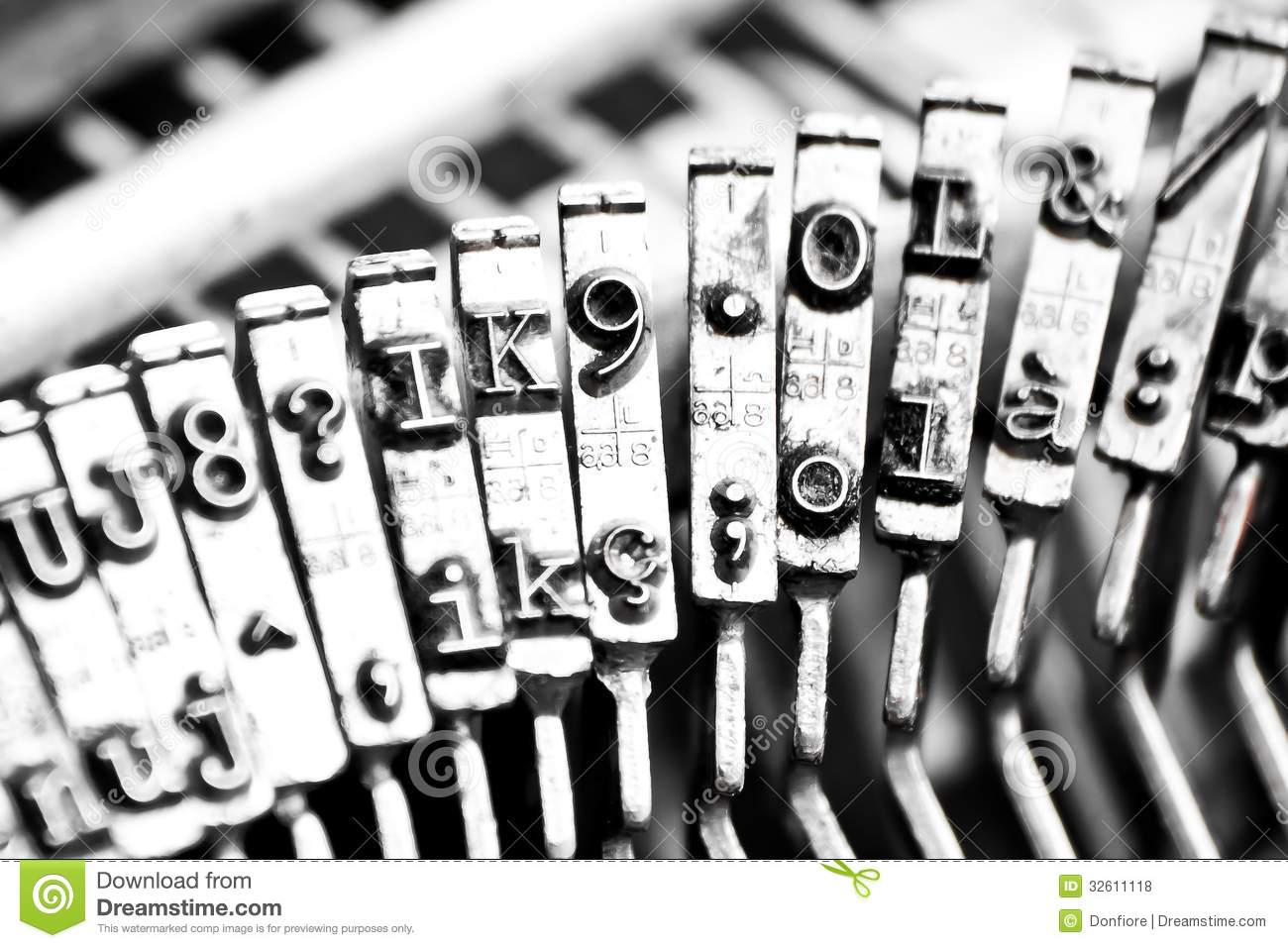Type Bars Of Typewriter With Some Type Bars Unfocused Royalty Free.