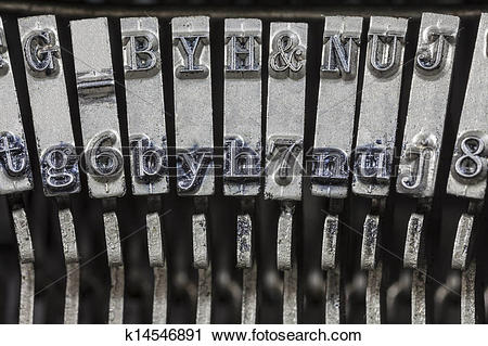 Stock Photography of Vintage Typewriter Typebars Extreme Macro.