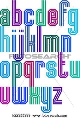 Clip Art of Triple stripe geometric font, retro style typeface.
