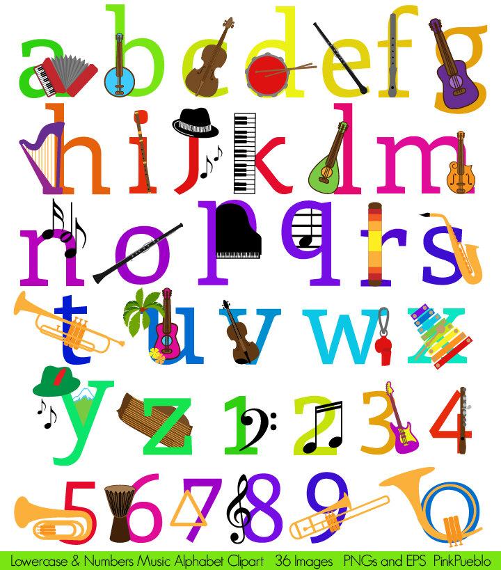 Music Alphabet Clipart Clip Art, Musical Instruments Letters Font.