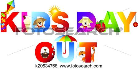 Clip Art of kids day out word in childrens alphabet typeface.
