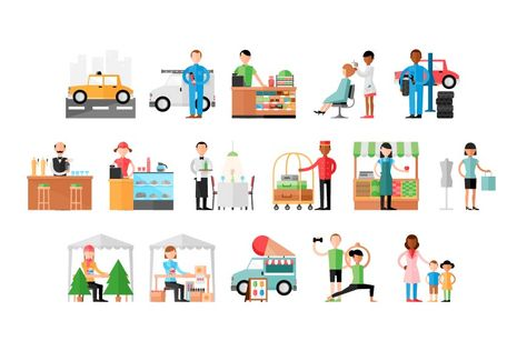 Business types illustrations by Side Project Clipart..