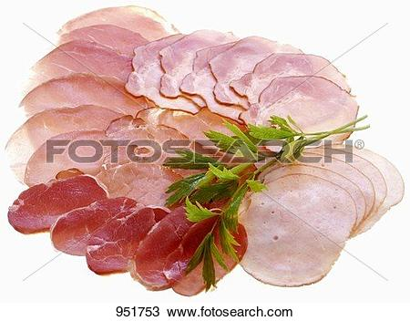Stock Photo of Various types of ham, sliced 951753.