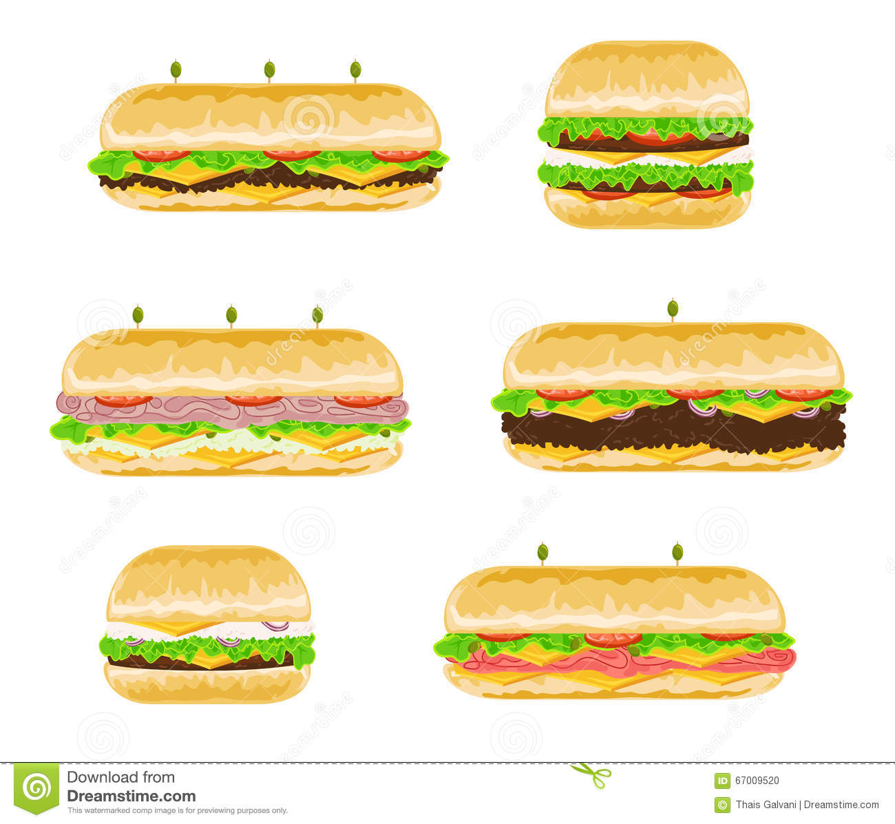 Types And Flavours Of Sandwiches Stock Vector.