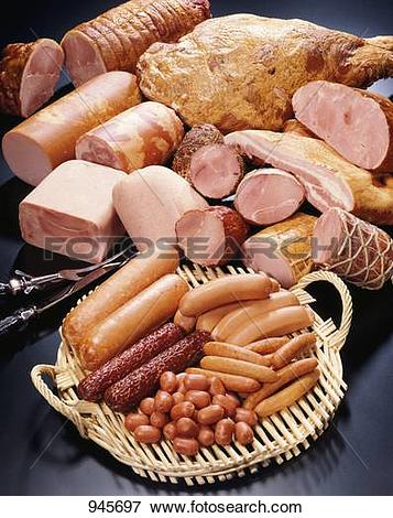 Picture of Various types of ham and sausages 945697.