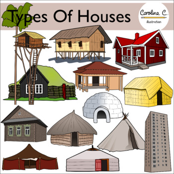 Types of Houses Clip Art.