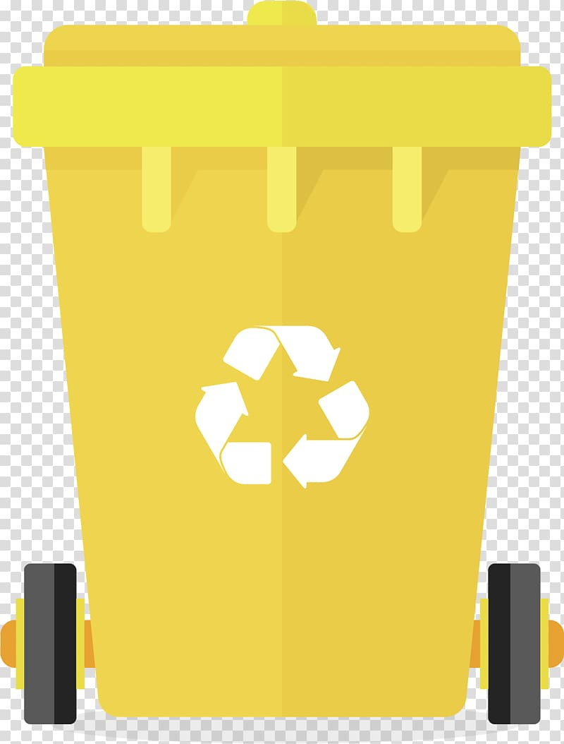 Yellow trash bin illustration, Paper Waste container Logo.