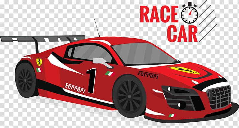 Red Ferrari race car illustration, Car Auto racing, cartoon.