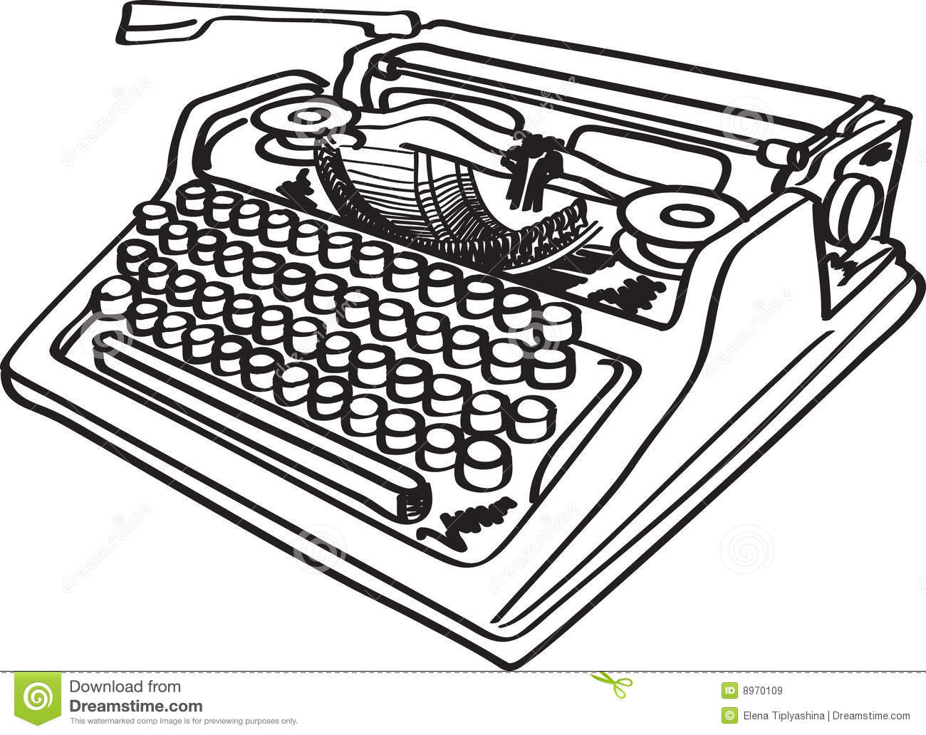 Free Animated Clipart Typewriter With Paper.