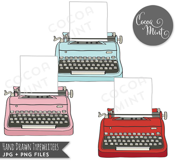 Hand Drawn Typewriters Clip Art by cocoamint on Etsy.