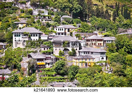 Stock Photo of Panoramic view on Traditional house in Gjirokaster.