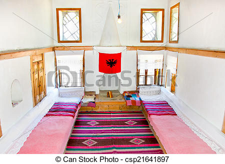 Stock Photographs of Inside traditional Albanian house in.