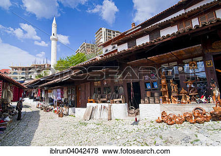 Pictures of Souvenirs for sale in traditional houses, Kruja.