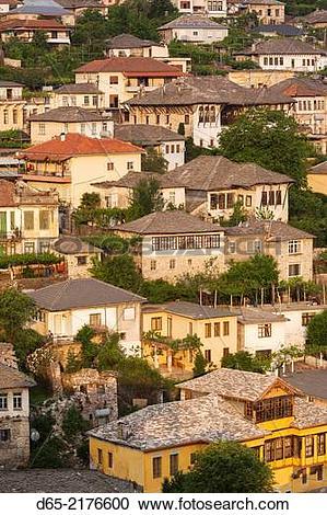 Stock Photography of Albania, Gjirokastra, elevated view of.