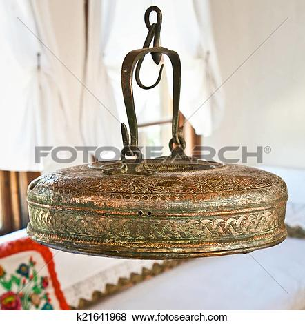 Pictures of Vintage copper teapots in traditional Albanian house.